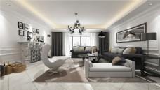 欧式简约客厅沙发背景墙设计图