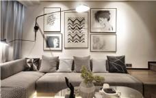 现代简约客厅茶几沙发背景墙设计图
