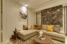 简约客厅茶几沙发背景墙设计图