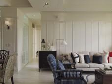 美式简约客厅沙发背景墙设计图