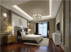 欧式时尚卧室大床吊灯落地窗设计图