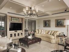 美式时尚客厅茶几沙发背景墙设计图