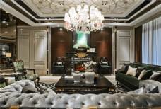 豪华客厅沙发背景墙设计图