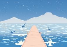 扁平海洋景观插画