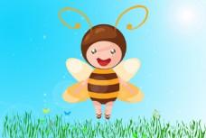 小蜜蜂绿草背景