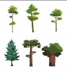 手绘矢量树木插画