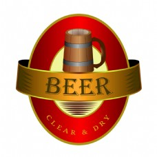 红色椭圆形啤酒标签图片