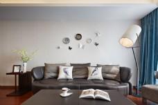 新中式时尚客厅茶几沙发背景墙设计图