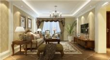 欧式客厅沙发背景墙落地窗设计图