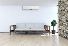沙发背景墙空调图片