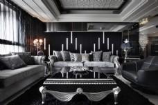简约时尚客厅沙发背景墙设计图