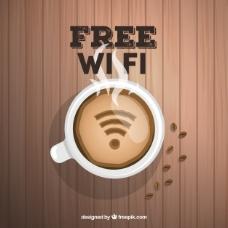 木制背景咖啡杯和wifi信号