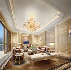 欧式豪华客厅吊灯沙发背景墙设计图