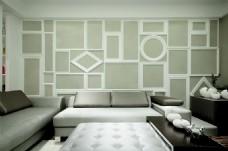 现代时尚客厅沙发背景墙设计图