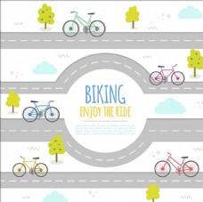 卡通公路自行车赛海报
