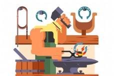 拿着锤子打铁的铁匠卡通矢量