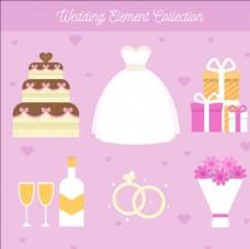 平面婚礼蛋糕和其他设计元素