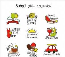 夏天元素标签草图