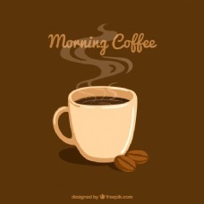 布朗背景咖啡杯和咖啡豆