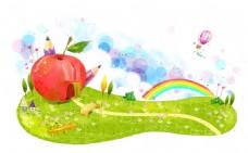 手绘卡通苹果图案