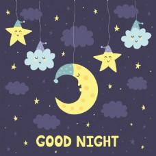 卡通月亮星星晚安挂画卡通动物矢量