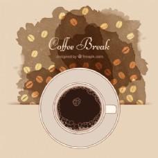 抽象背景咖啡杯