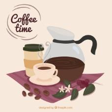 可爱的背景咖啡壶和咖啡杯