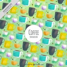 水彩咖啡杯装饰图案