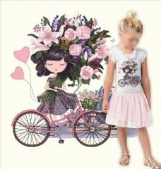 植物花朵花卉小女孩自行车图案
