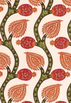 红色花纹布艺壁纸图片