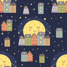 月亮和房屋晚安挂画卡通动物矢量