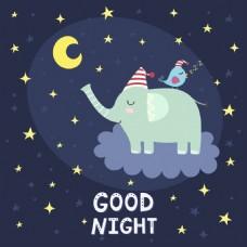 睡着的大象和小鸟挂画卡通动物矢量