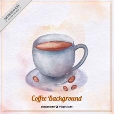 水彩风格的咖啡杯背景