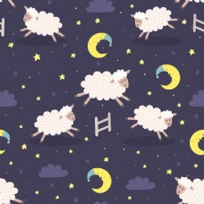 白色小羊儿童日韩插画睡觉晚安挂画卡通动物