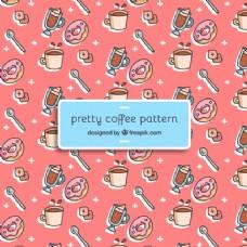 咖啡杯和油炸圈饼