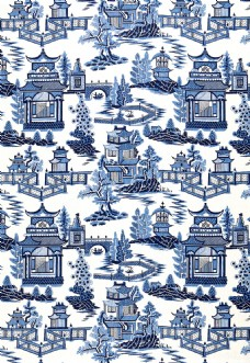 蓝色时尚花纹布艺壁纸