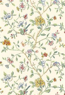 多彩树枝花朵布艺壁纸