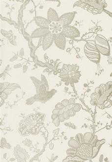 浅白色花朵布纹壁纸