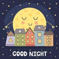 月亮房屋睡觉晚安挂画卡通动物矢量