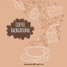 手绘背景咖啡杯和糖果
