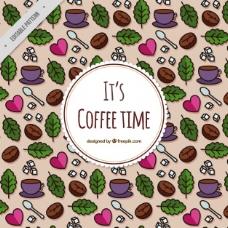 带叶子和心脏的咖啡杯图案