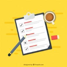 黄色背景与清单和咖啡杯
