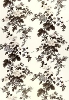 黑白树枝花纹布艺壁纸