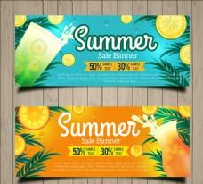 夏季用爽口飲料促銷橫幅