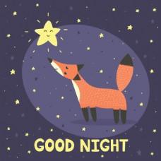 卡通狐狸儿童挂画卡通动物矢量