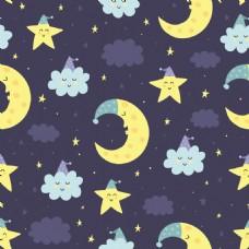 睡着的月亮和云朵晚安挂画卡通动物矢量