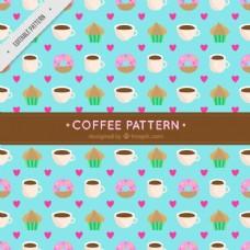 咖啡杯和蛋糕装饰图案