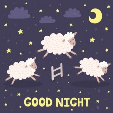 卡通小羊晚安挂画卡通动物矢量