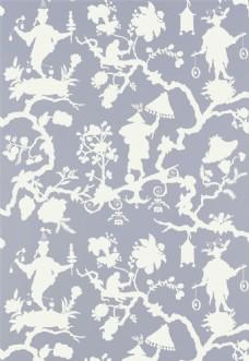白色花纹布纹壁纸图片