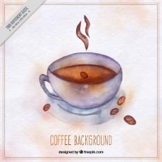 咖啡杯水彩背景